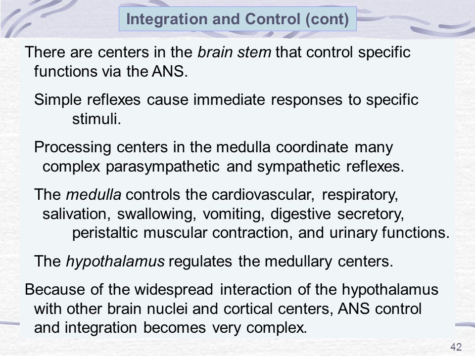 Integration and Control (cont)