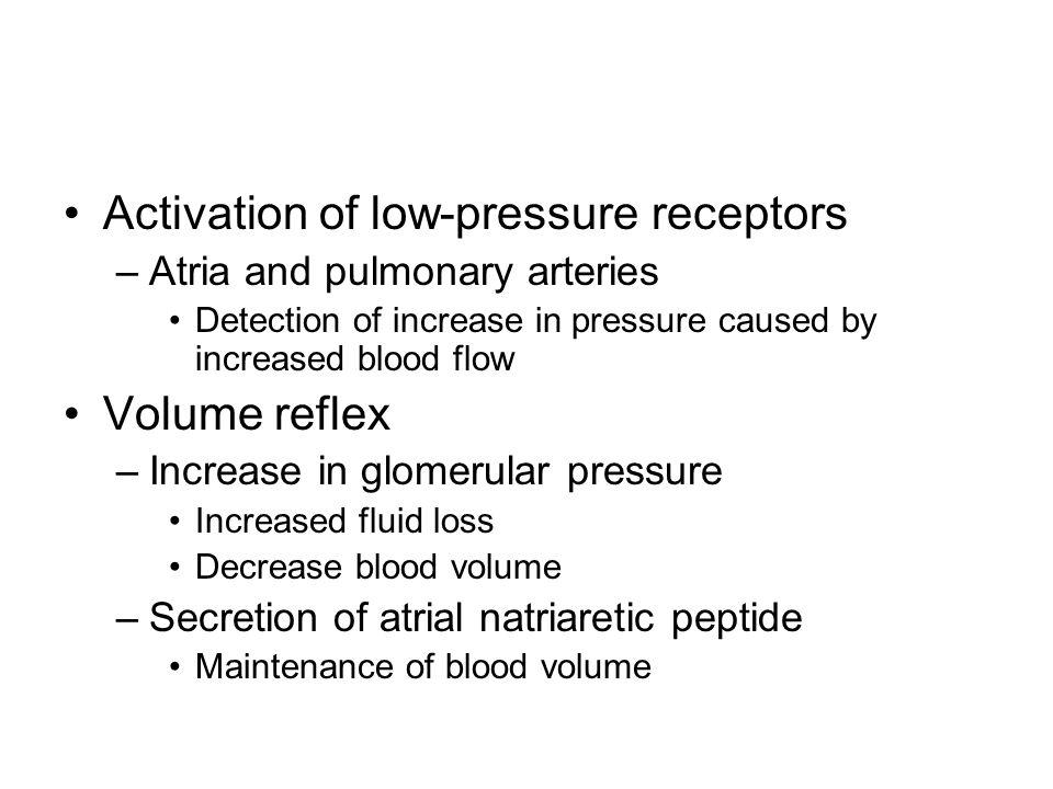 Activation of low-pressure receptors
