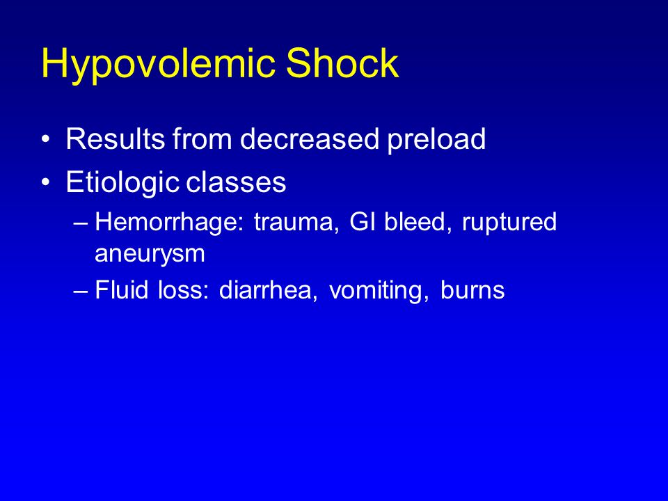 Hypovolemic Shock Results from decreased preload Etiologic classes