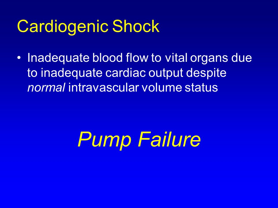 Pump Failure Cardiogenic Shock