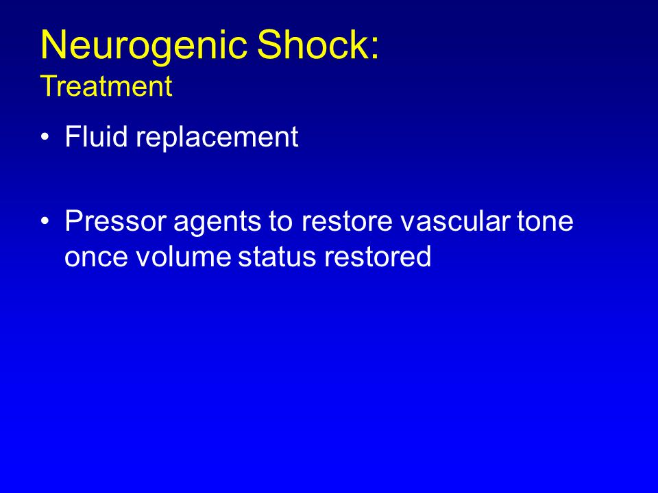 Neurogenic Shock: Treatment