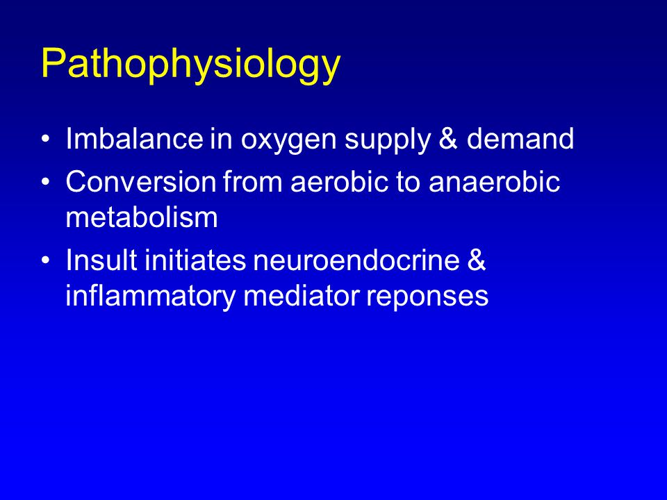 Pathophysiology Imbalance in oxygen supply & demand