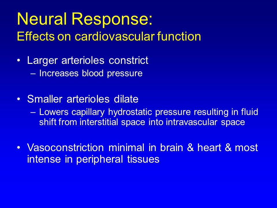 Neural Response: Effects on cardiovascular function