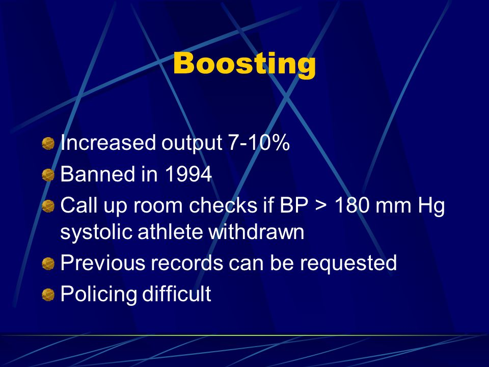Boosting Increased output 7-10% Banned in 1994