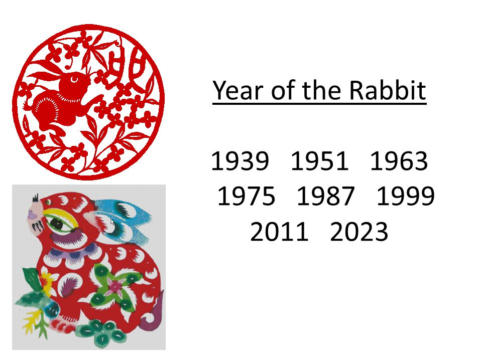 Year of the Rabbit 1939 1951 1963 1975 1987 1999 2011 2023