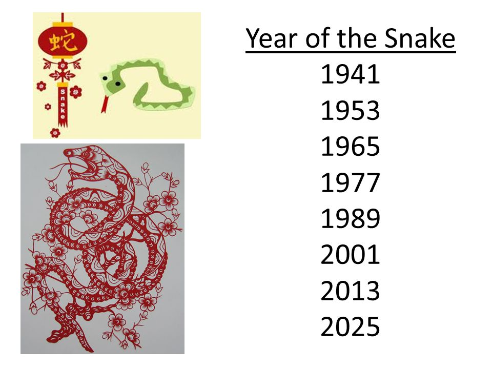Year of the Snake 1941 1953 1965 1977 1989 2001 2013 2025