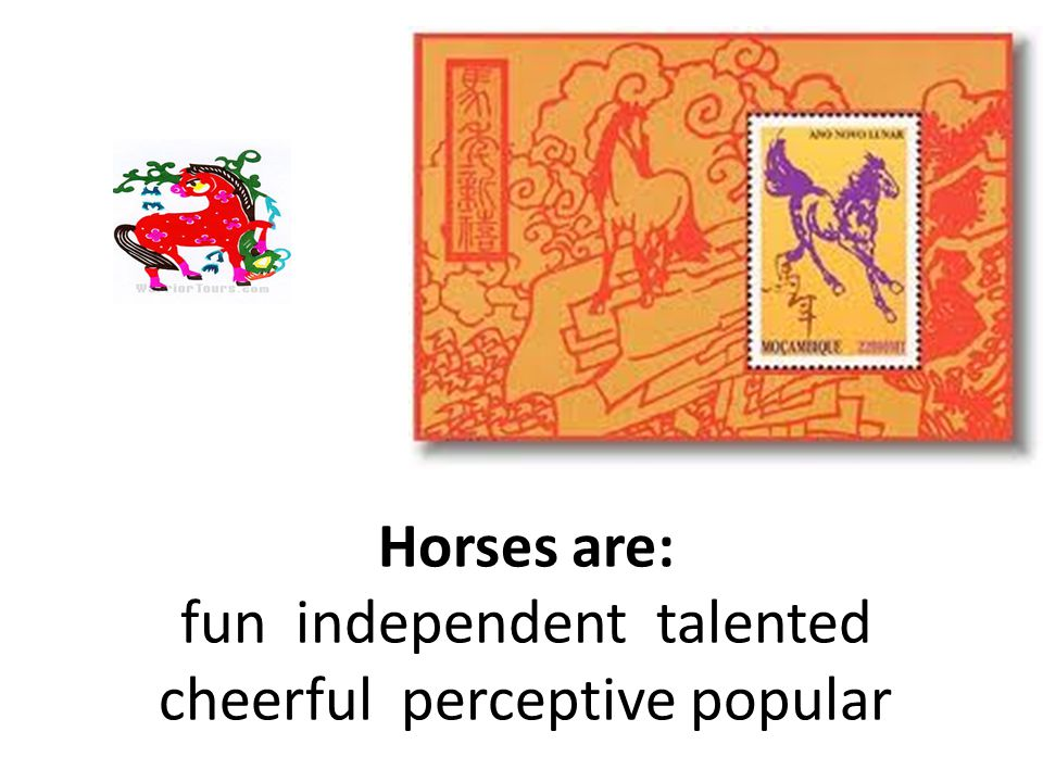 Horses are: fun independent talented cheerful perceptive popular