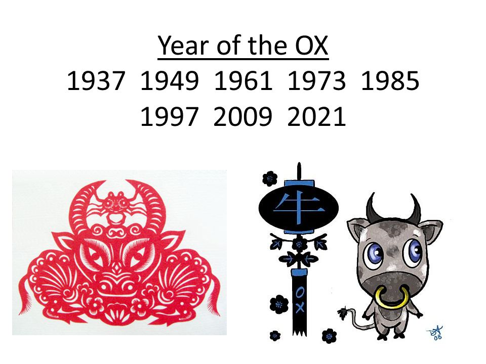Year of the OX 1937 1949 1961 1973 1985 1997 2009 2021