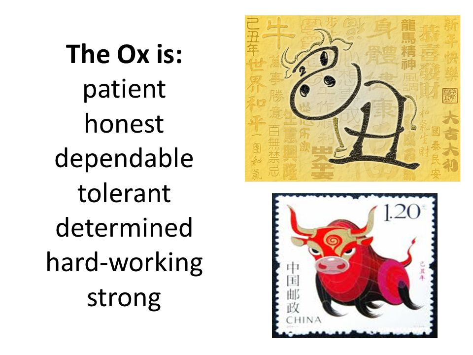 The Ox is: patient honest dependable tolerant determined hard-working strong