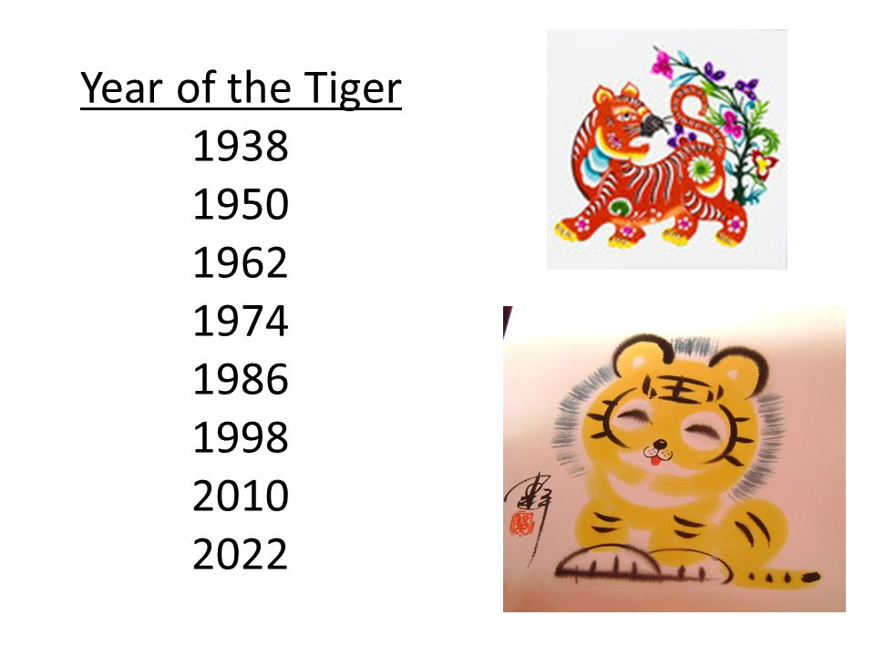 Year of the Tiger 1938 1950 1962 1974 1986 1998 2010 2022