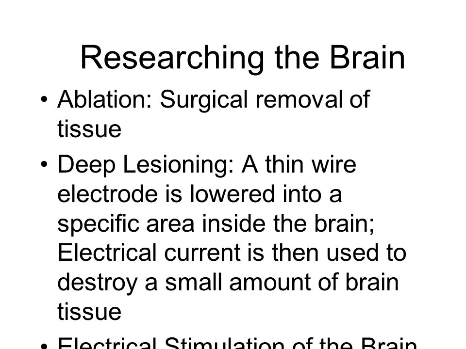 Researching the Brain Ablation: Surgical removal of tissue
