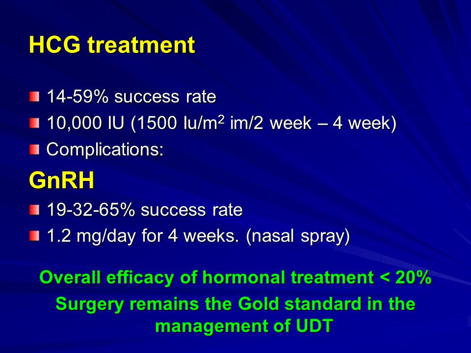 HCG treatment GnRH 14-59% success rate