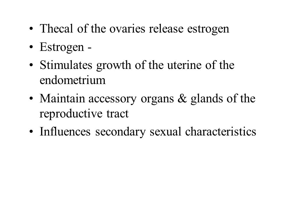 Thecal of the ovaries release estrogen