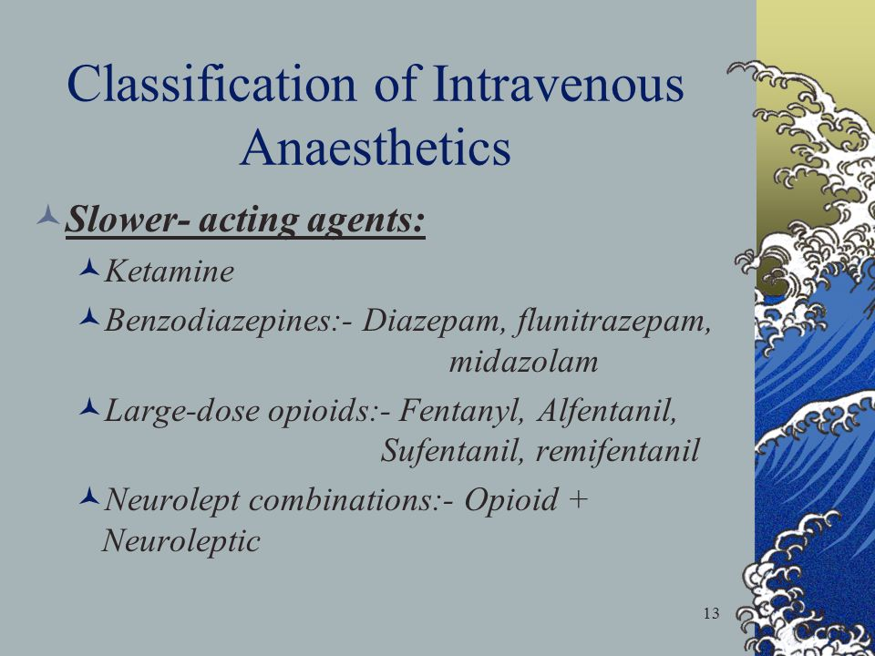 Classification of Intravenous Anaesthetics