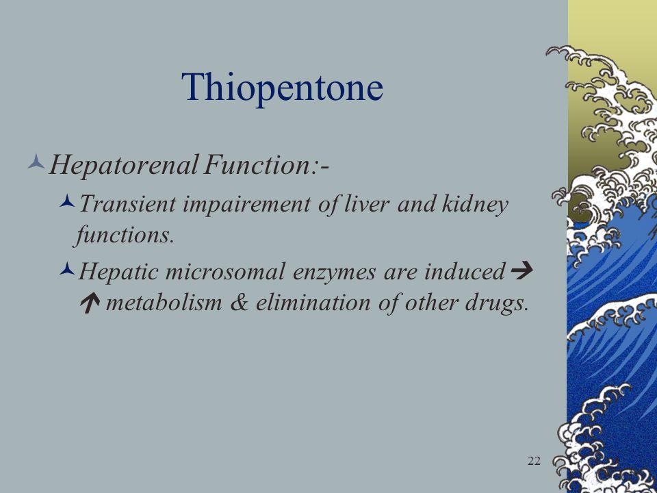 Thiopentone Hepatorenal Function:-