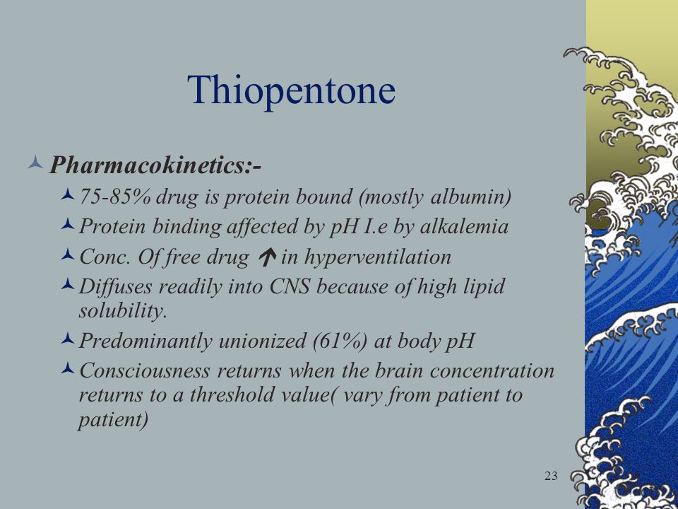 Thiopentone Pharmacokinetics:-