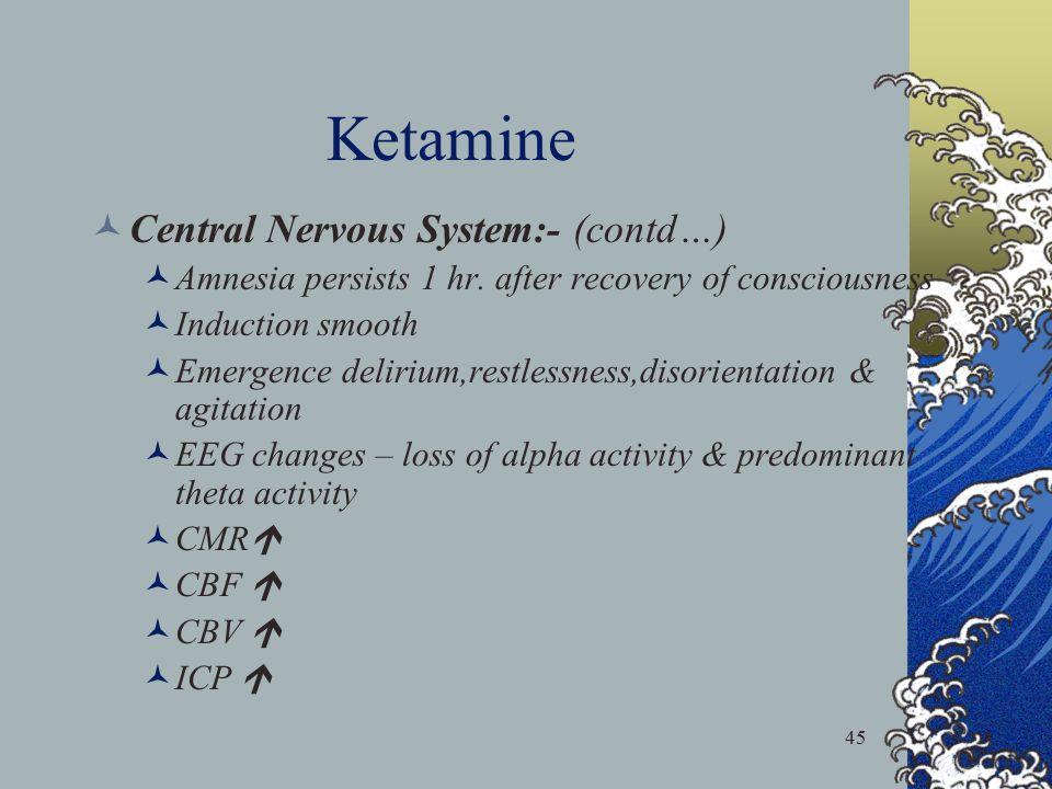 Ketamine Central Nervous System:- (contd…)