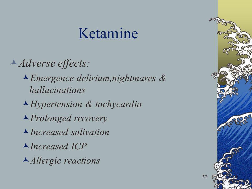 Ketamine Adverse effects: