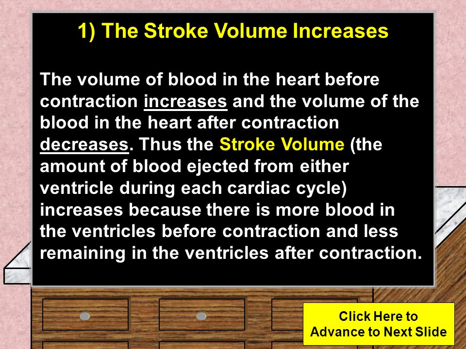 1) The Stroke Volume Increases Click Here to Advance to Next Slide