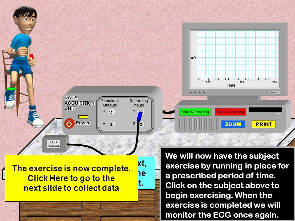 mV sec. sec. sec. Time. Monitor. Power. DATA ACQUISITION UNIT. Stimulator Outputs. + - Recording Inputs.
