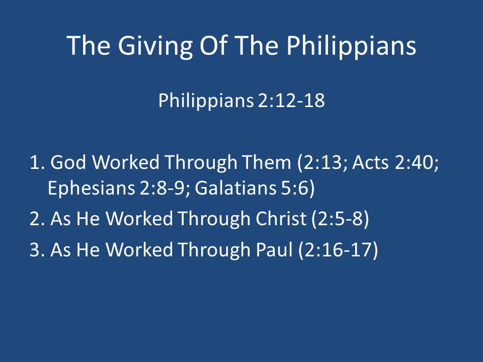 The Giving Of The Philippians