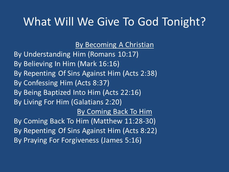 What Will We Give To God Tonight