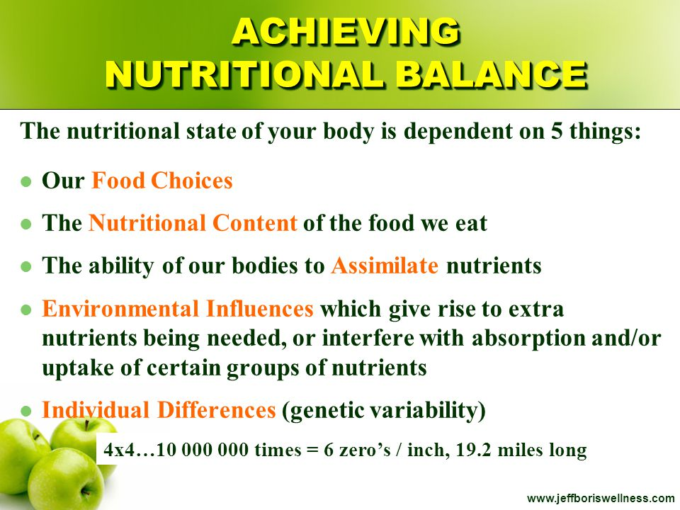 ACHIEVING NUTRITIONAL BALANCE