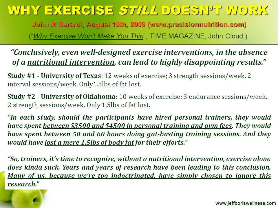WHY EXERCISE STILL DOESN'T WORK