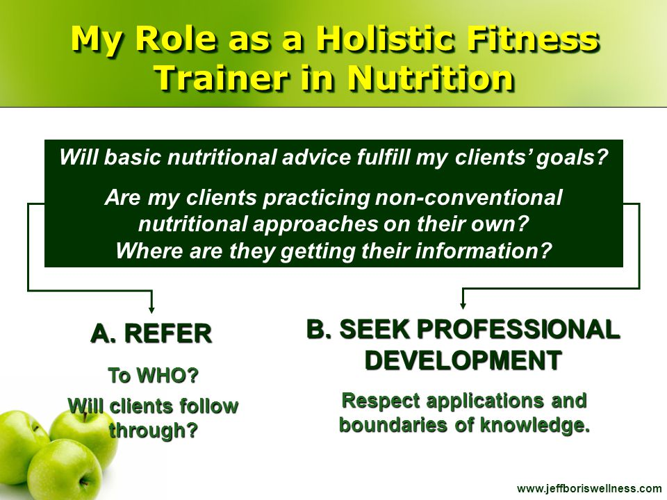 My Role as a Holistic Fitness Trainer in Nutrition