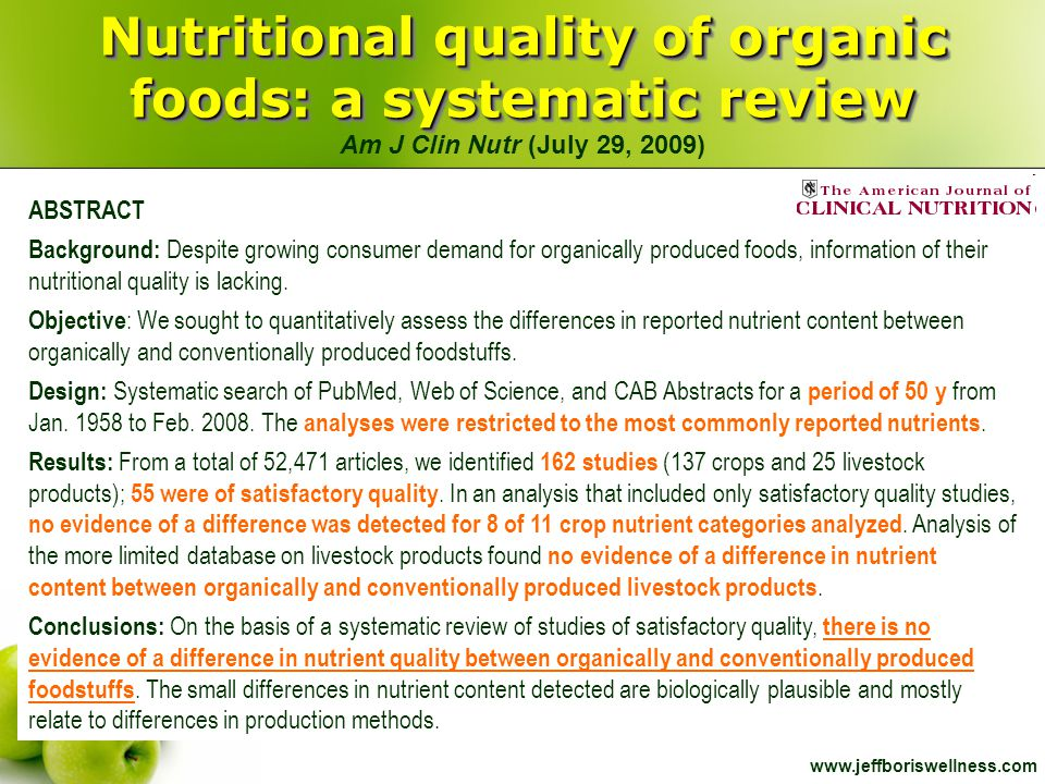 Nutritional quality of organic foods: a systematic review