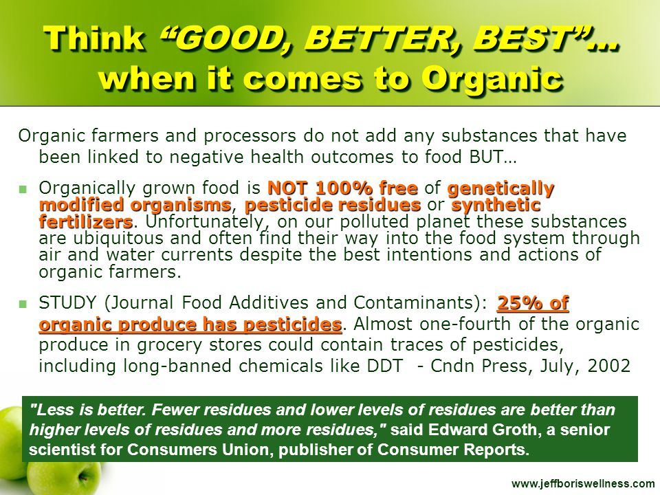 Think GOOD, BETTER, BEST … when it comes to Organic