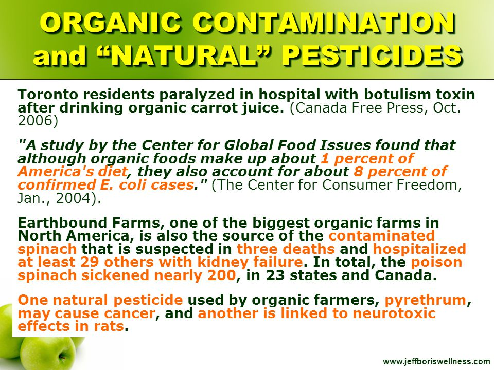 ORGANIC CONTAMINATION and NATURAL PESTICIDES