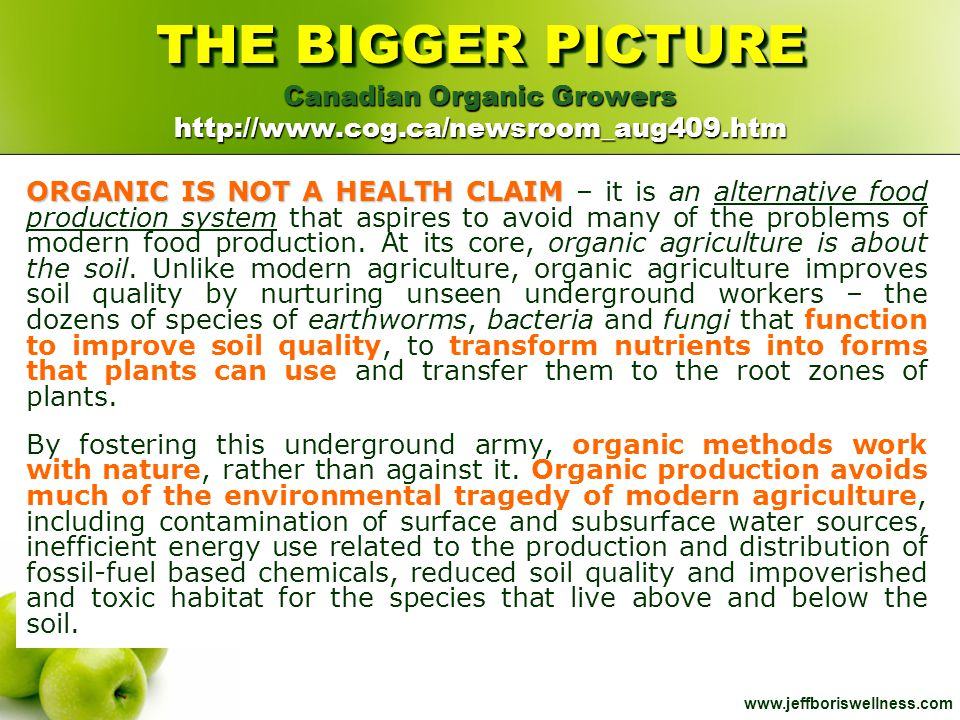 Canadian Organic Growers http://www.cog.ca/newsroom_aug409.htm