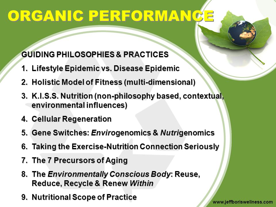 ORGANIC PERFORMANCE GUIDING PHILOSOPHIES & PRACTICES