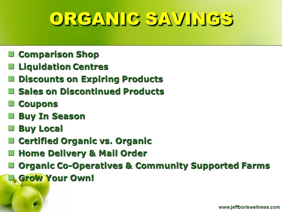 ORGANIC SAVINGS Comparison Shop Liquidation Centres