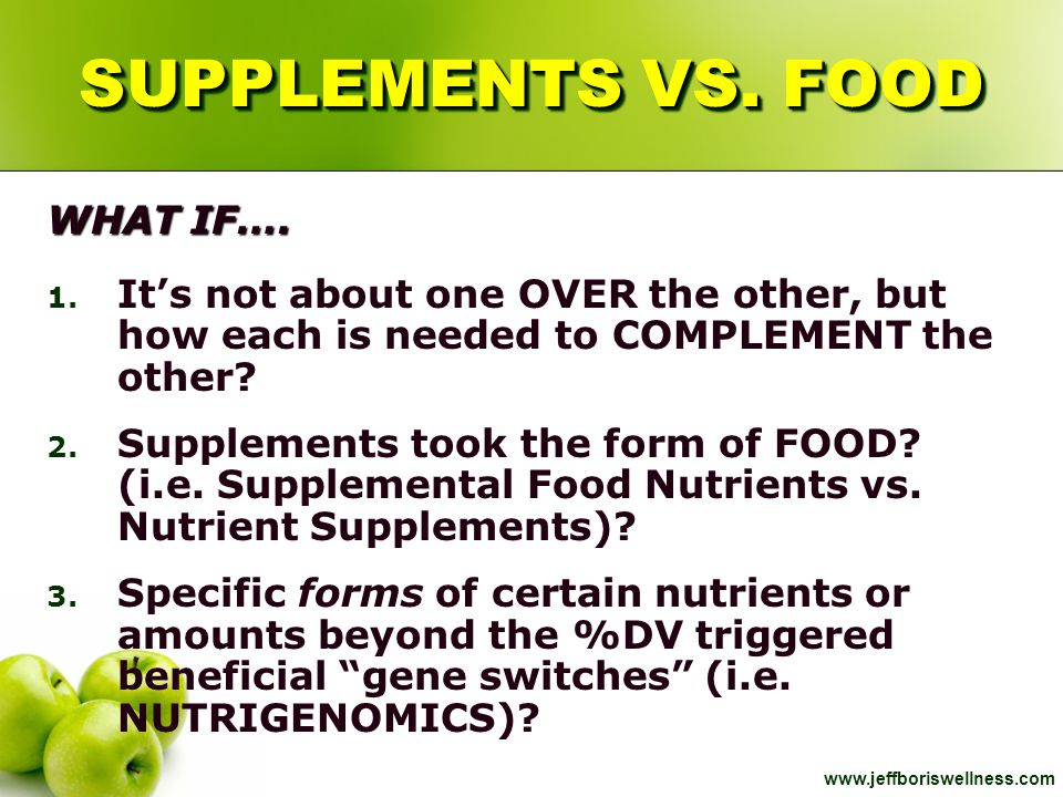 SUPPLEMENTS VS. FOOD WHAT IF….
