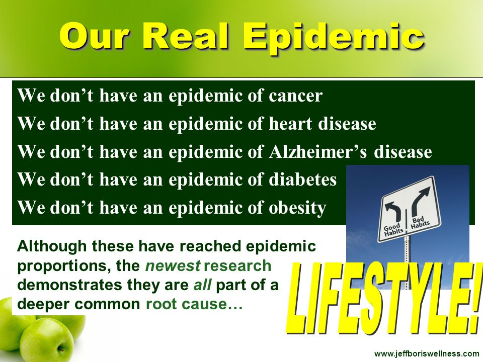 Our Real Epidemic LIFESTYLE! We don't have an epidemic of cancer