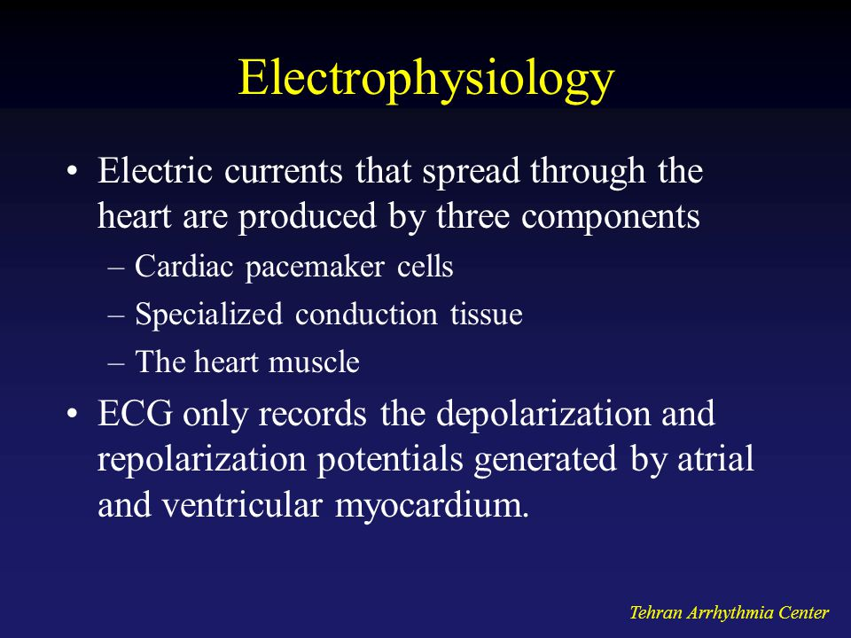 Electrophysiology Electric currents that spread through the heart are produced by three components.