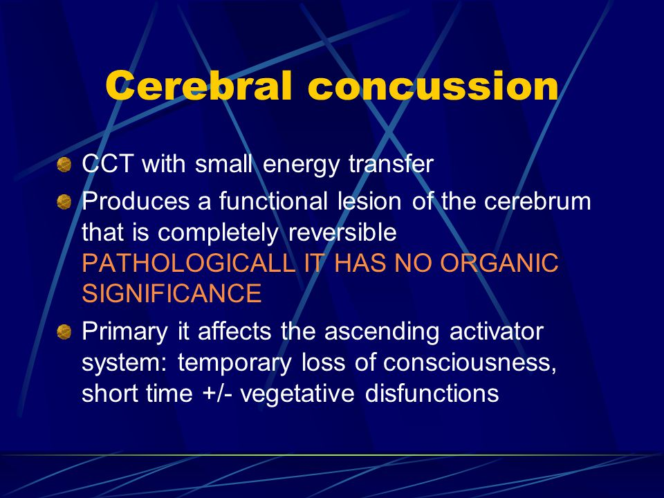Cerebral concussion CCT with small energy transfer