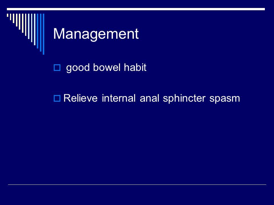 Management good bowel habit Relieve internal anal sphincter spasm