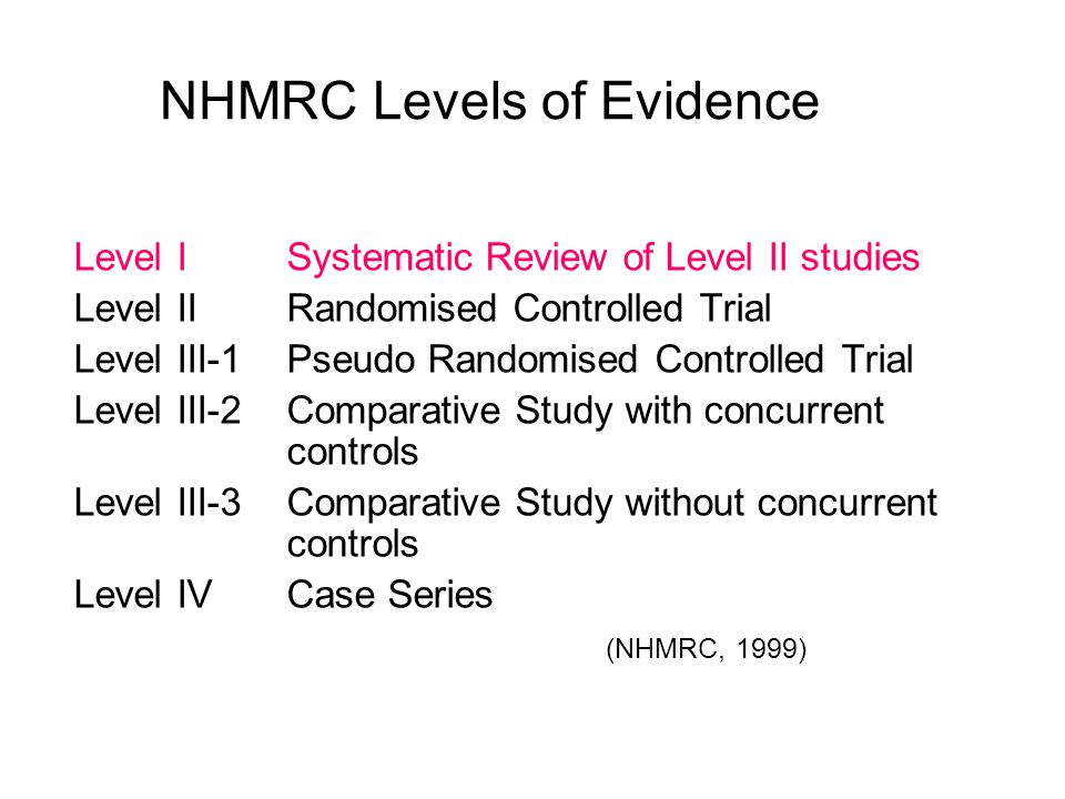 NHMRC Levels of Evidence