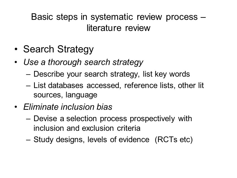 Basic steps in systematic review process – literature review