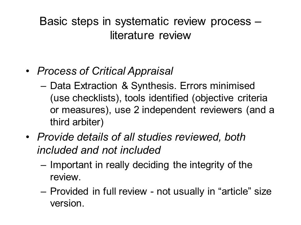 Basic steps in systematic review process –literature review