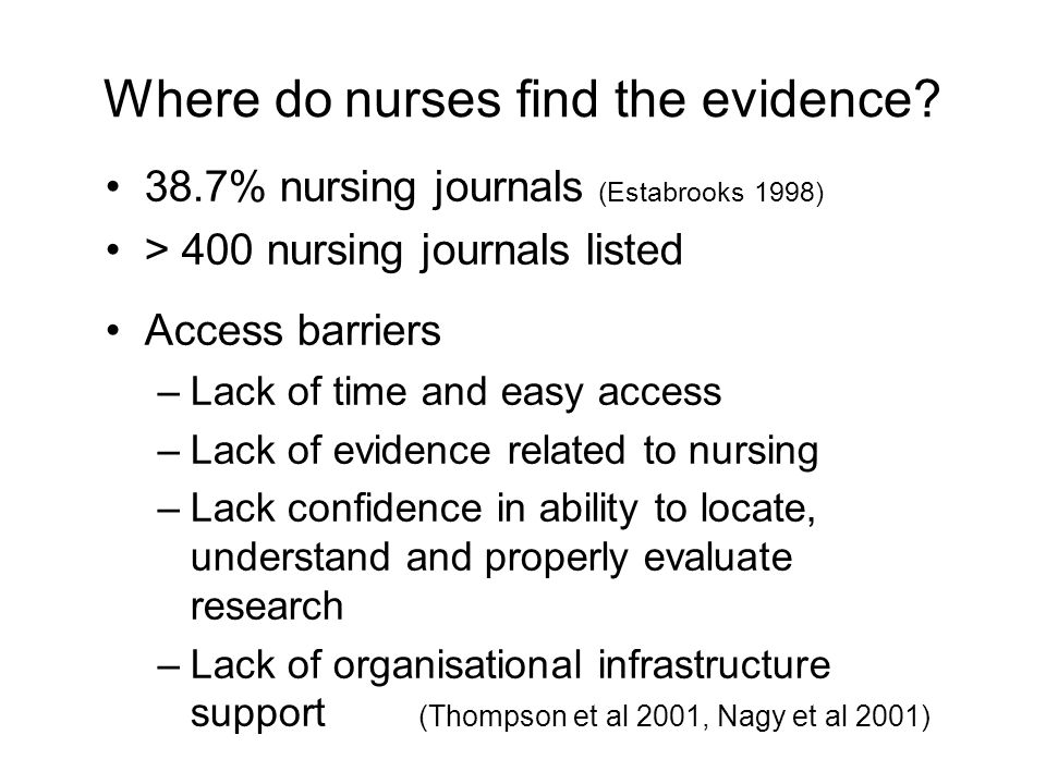 Where do nurses find the evidence