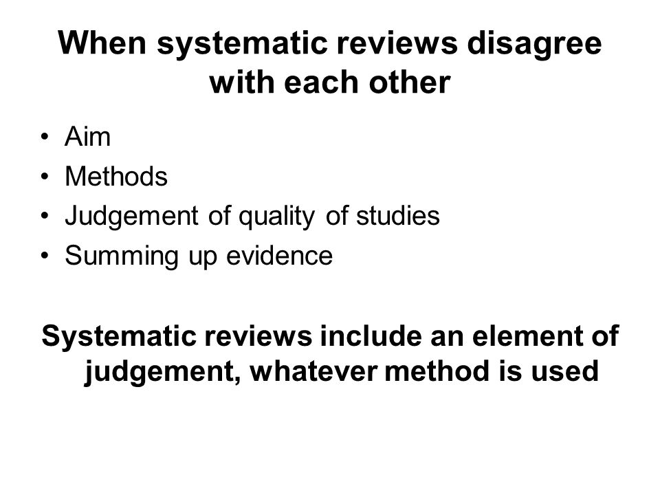 When systematic reviews disagree with each other
