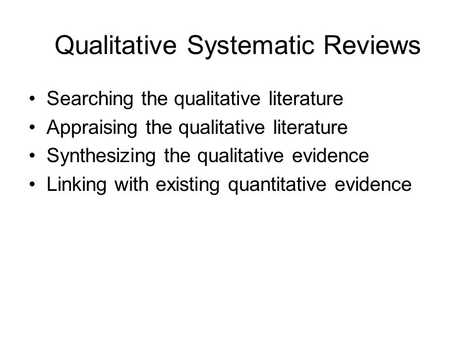 Qualitative Systematic Reviews