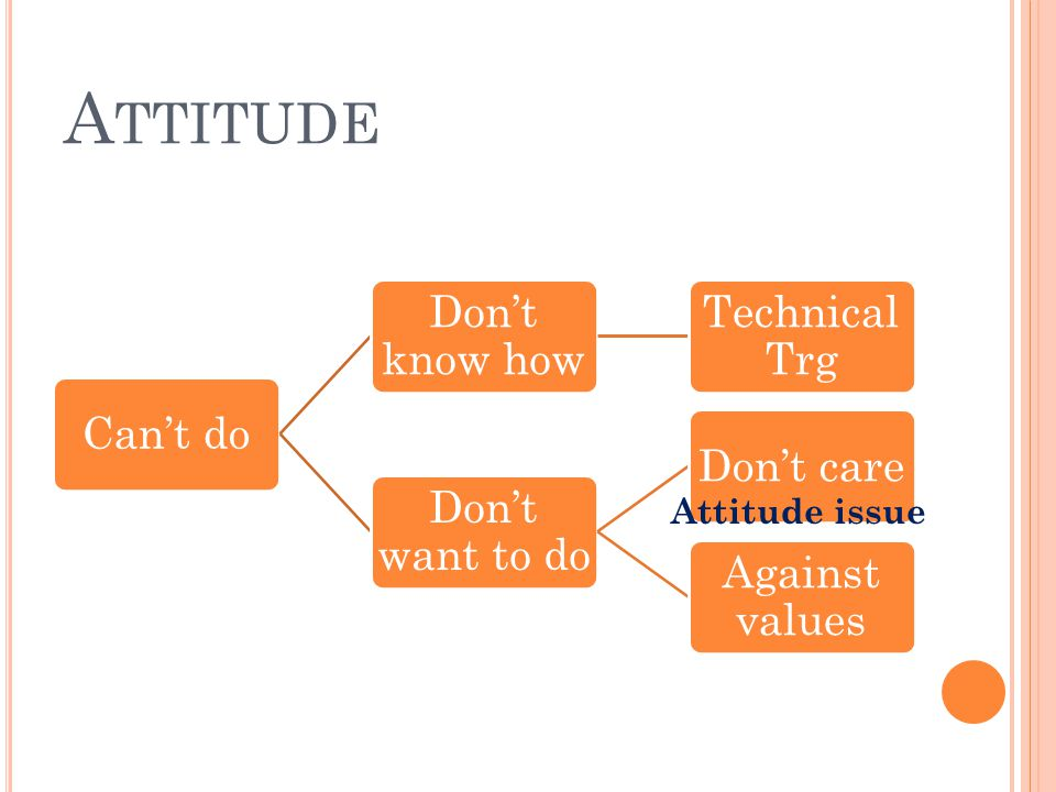 Attitude Attitude issue Can't do Don't know how Technical Trg