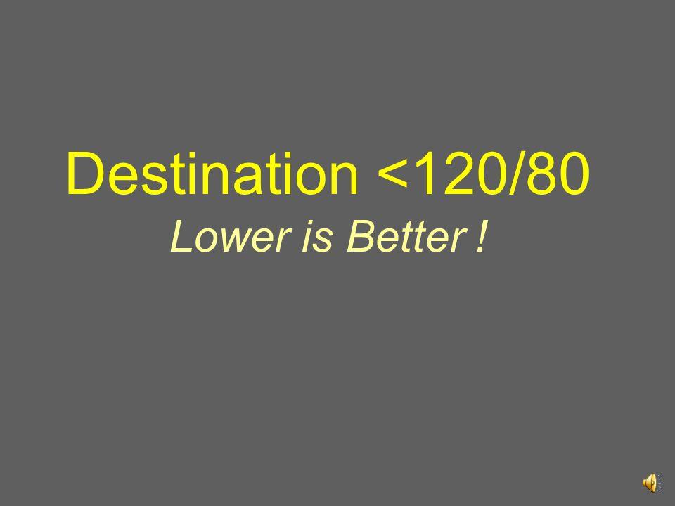 Destination <120/80 Lower is Better !