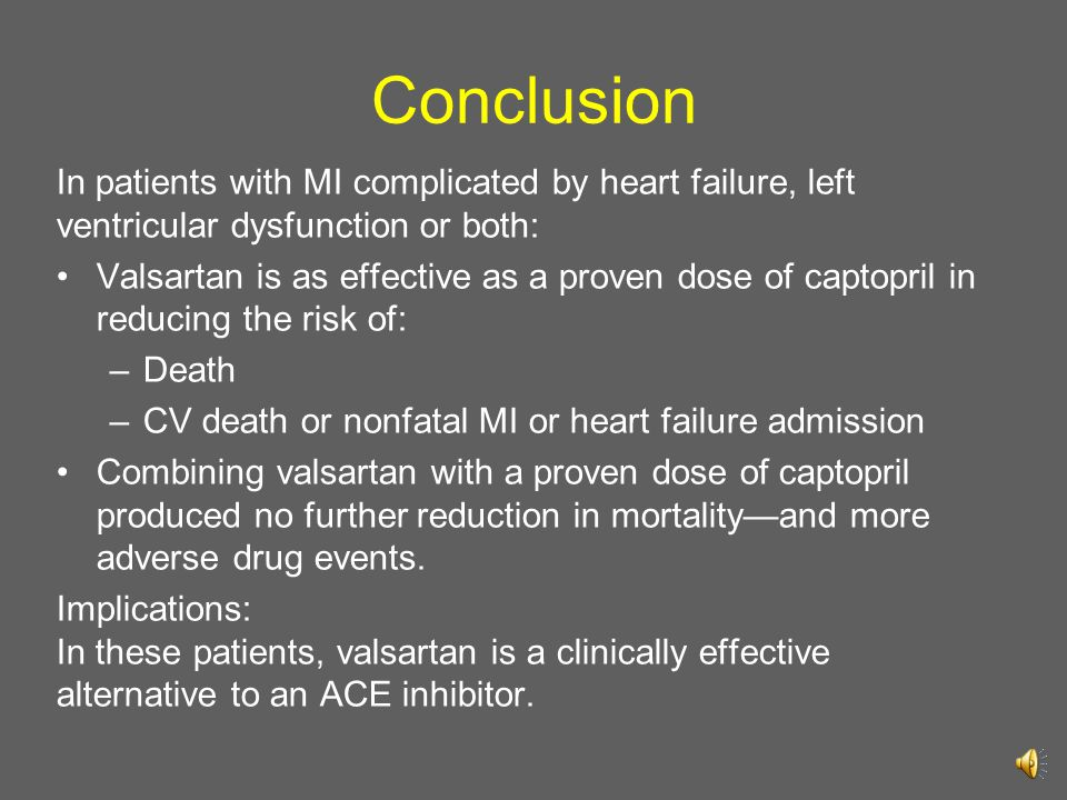 Conclusion In patients with MI complicated by heart failure, left