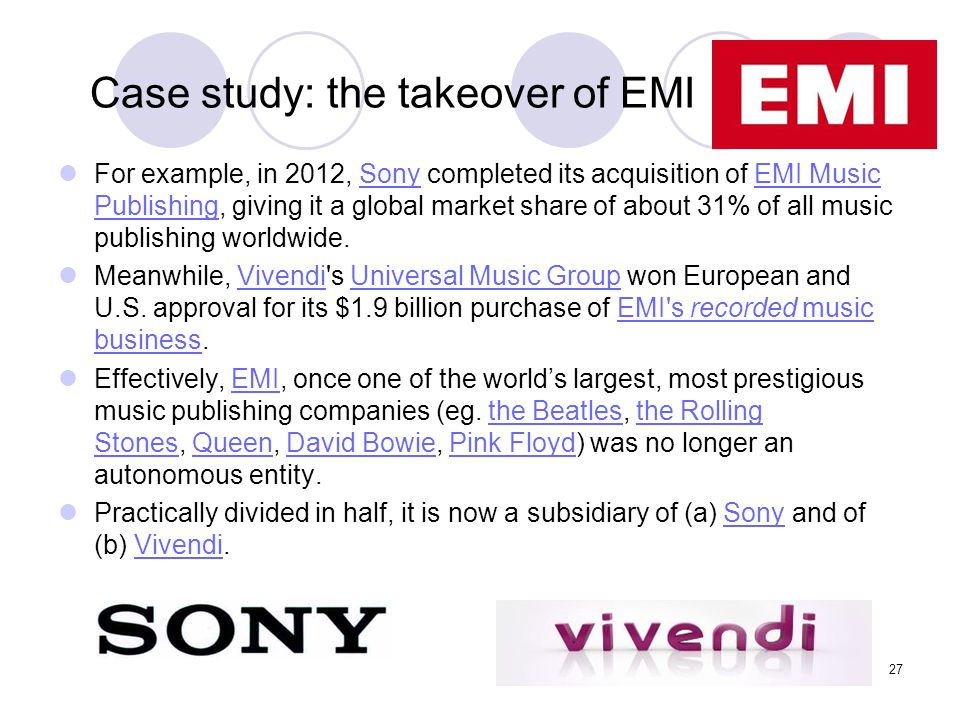 Case study: the takeover of EMI